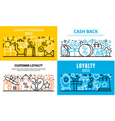 Loyalty program reward banner set outline style vector