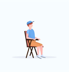 man hiker sitting in folding chair hiking camping vector image