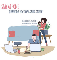 man works at home woman is cuddling a baby vector image