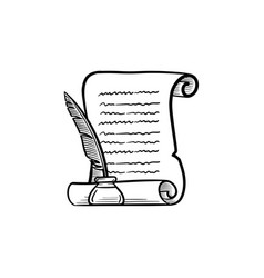 Manuscript paper with feather pen hand drawn icon vector