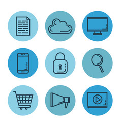 Media marketing set icons vector