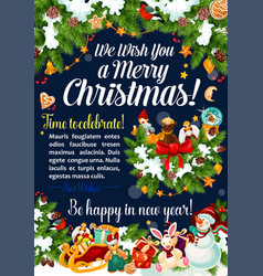 merry christmas celebration greeting card vector image