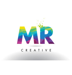 mr m r colorful letter origami triangles design vector image