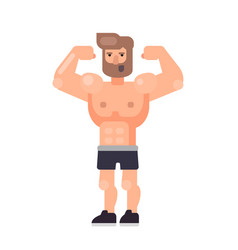 muscle man showing his big biceps vector image