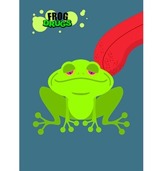 Narcotic frog Acid Toad Narcotic amphibious Tongue vector