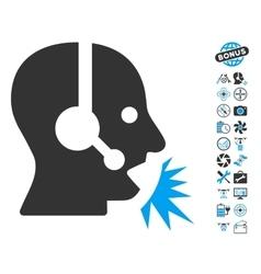 Operator Speech Icon With Copter Tools Bonus vector