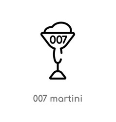 Outline 007 martini icon isolated black simple vector