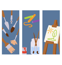 painting art tools palette banner vector image