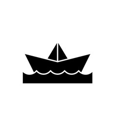 paper boat black icon sign on isolated vector image