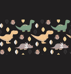 Pattern with cute walking dinosaurs vector