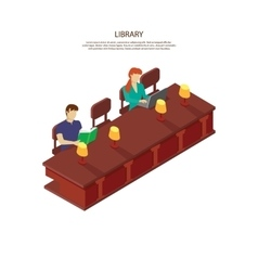 people read for library table vector image