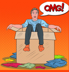 Pop art stressed man in the box with clothes vector