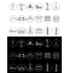 Popular travel landmarks icons vector