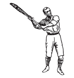 Position of overhand shot lacrosse vintage vector