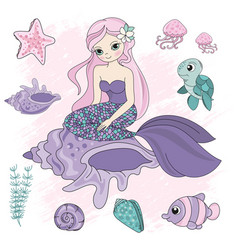 queen mermaid girl princess travel tropical cruise vector image