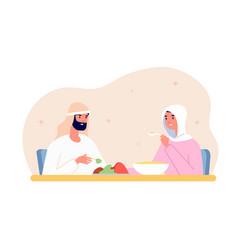 ramadan kareem dinner arab home eat muslim vector image