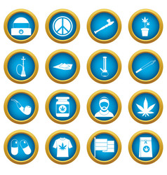 Rastafarian icons blue circle set vector
