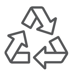 Recycle line icon ecology and protection vector