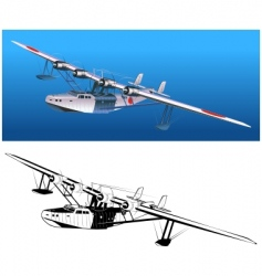 retro seaplane 30-s vector image