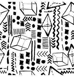 Seamless geometric hand drawn pattern in retro vector image