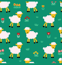 seamless pattern with sheep on green background vector image