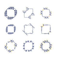 Set flower frames vector