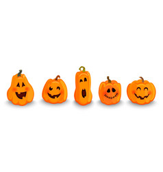 set halloween pumpkins characters vector image