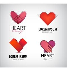 set hearts logos charity vector image