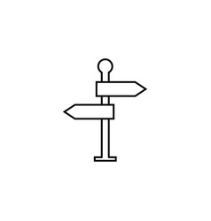 Signpost line icon navigation road sign vector