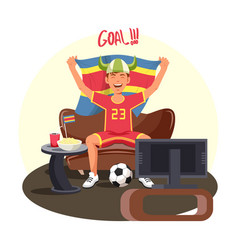 soccer or football fan celebrating goal near tv vector image