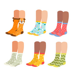 socks on woman legs set vector image