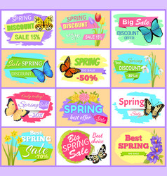 spring sale set posters butterflies and flowers vector image