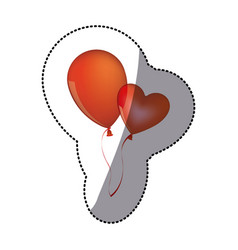 Sticker shading red balloons flying romantic vector