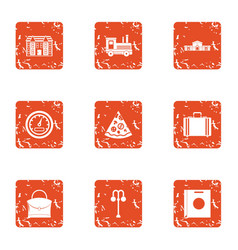 Suburb icons set grunge style vector