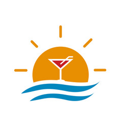 sunset drink logo vector image