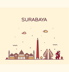 Surabaya skyline east java indonesia linear vector