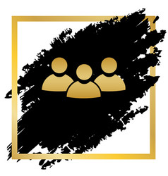 Team work sign golden icon at black spot vector
