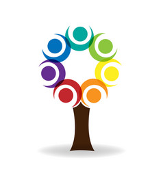 teamwork tree unity people logo design vector image