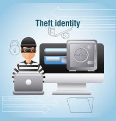Theft identity hacker laptop computer safe box vector