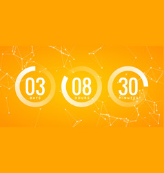 time countdown clock timer circle number vector image