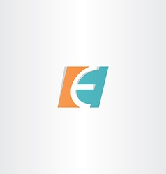 Turquoise orange letter e logo icon element vector
