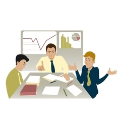 Unsuccessful meeting with boss and two colleagues vector