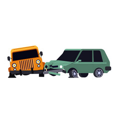 Vehicles collision or car crash isolated icon vector