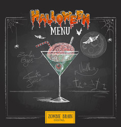 Vintage chalk drawing halloween cocktail menu vector