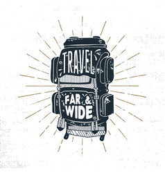 Vintage hand drawn camper backpack design vector