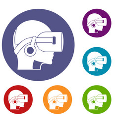 Vr headset icons set vector