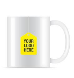 White tea cup with tea bag vector