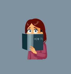 Woman reading a how to manual vector