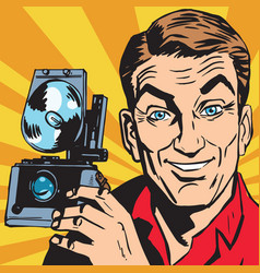 avatar portrait of man with retro camera vector image