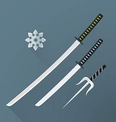 flat samurai weapon set icon vector image
